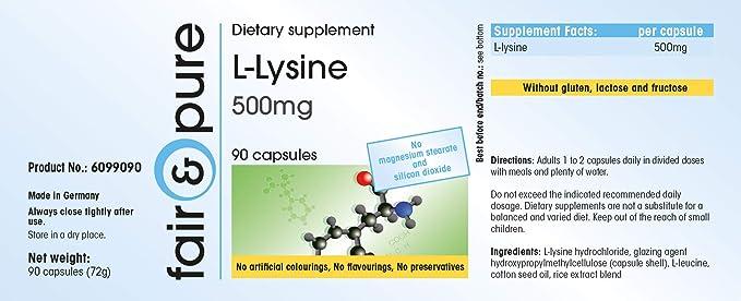 L - Lisina 500 mg - Polvo de Lisina en cápsulas - Vegana - Alta pureza - 90 Cápsulas