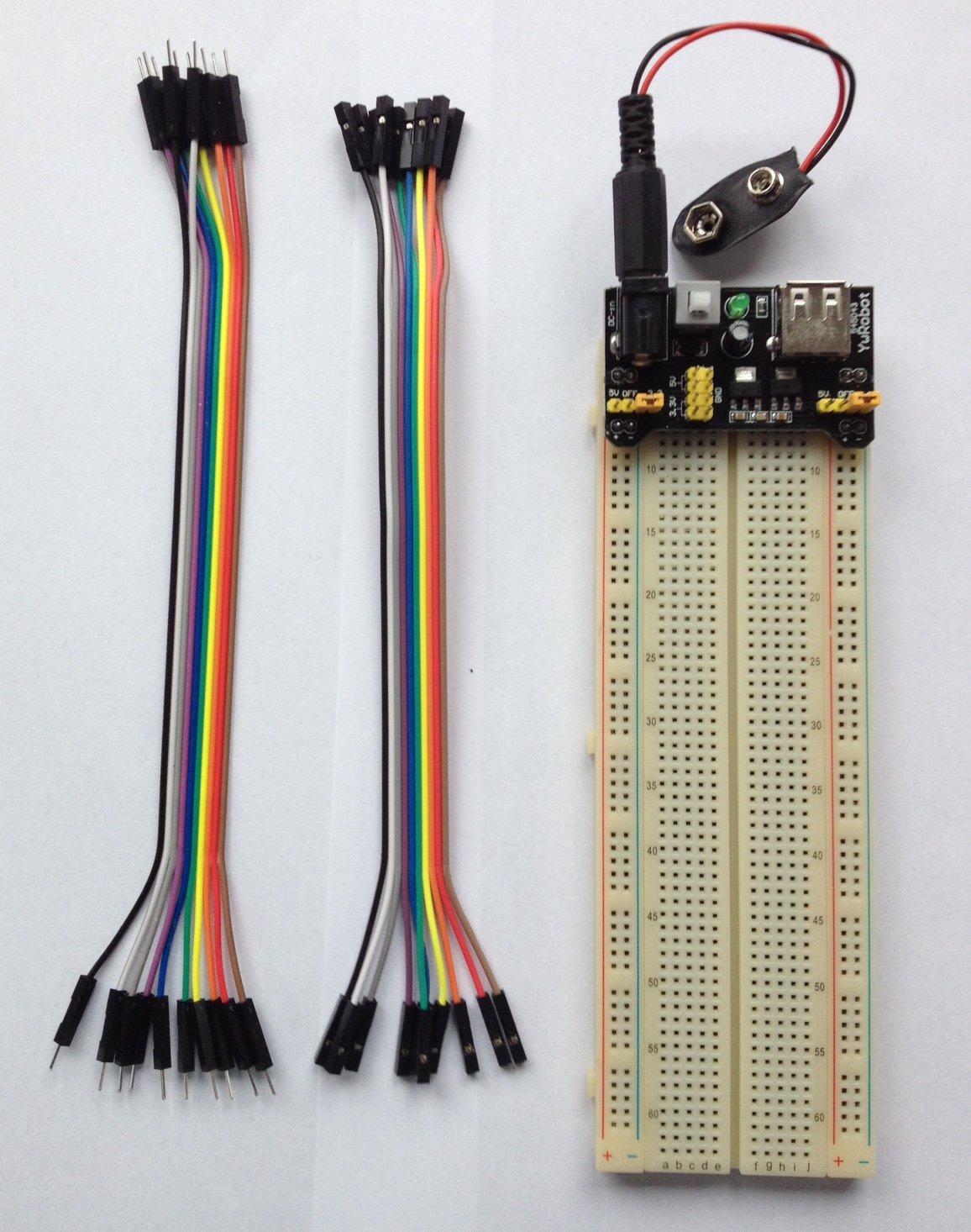 Steckbrett Set mit MB-102 Breadboard+Jumper-Drähte+Netzteil Modul 3.3 V// 5 V
