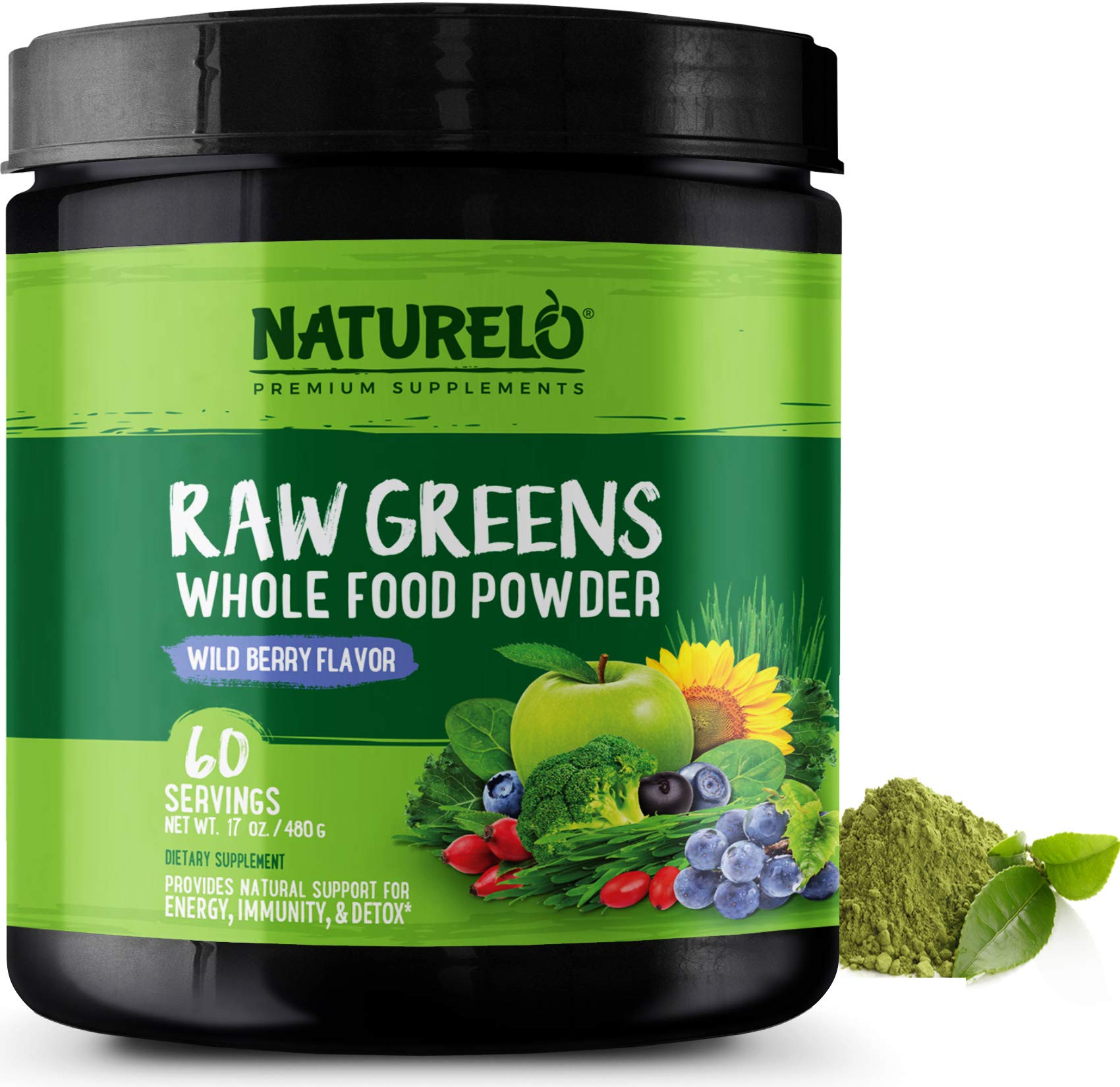 NATURELO Raw Greens Superfood Powder - Wild Berry Flavor - Boost Energy, Detox, Enhance Health - Organic Spirulina - Wheat Grass - Whole Food Nutrition from Fruits & Vegetables - 60 Servings