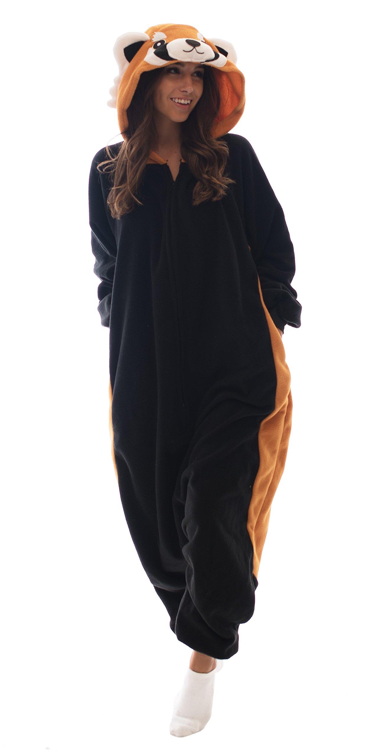 Adult Onesie Red Panda Animal Pajamas Comfortable Costume with Zipper and Pockets (Medium)