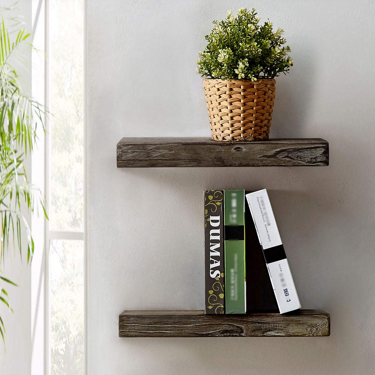 HSH Rugged Reclaimed Solid Wood Wall Shelf, Rustic Farmhouse Floating Shelf, Vintage Industrial Mount Wooden Shelving, Natural Pine, 18 x 7.1 Inch, Set of 2