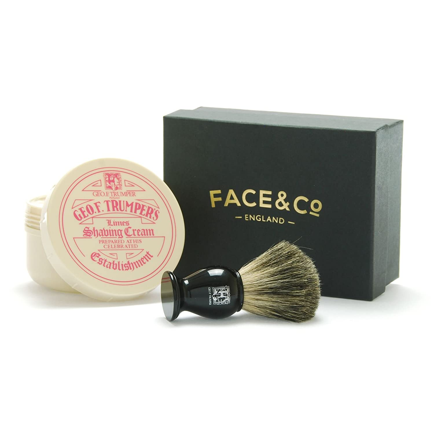 Geo F Trumper Black, Pure Badger Shaving Brush & Limes Shave Cream Gift Set Face & Co