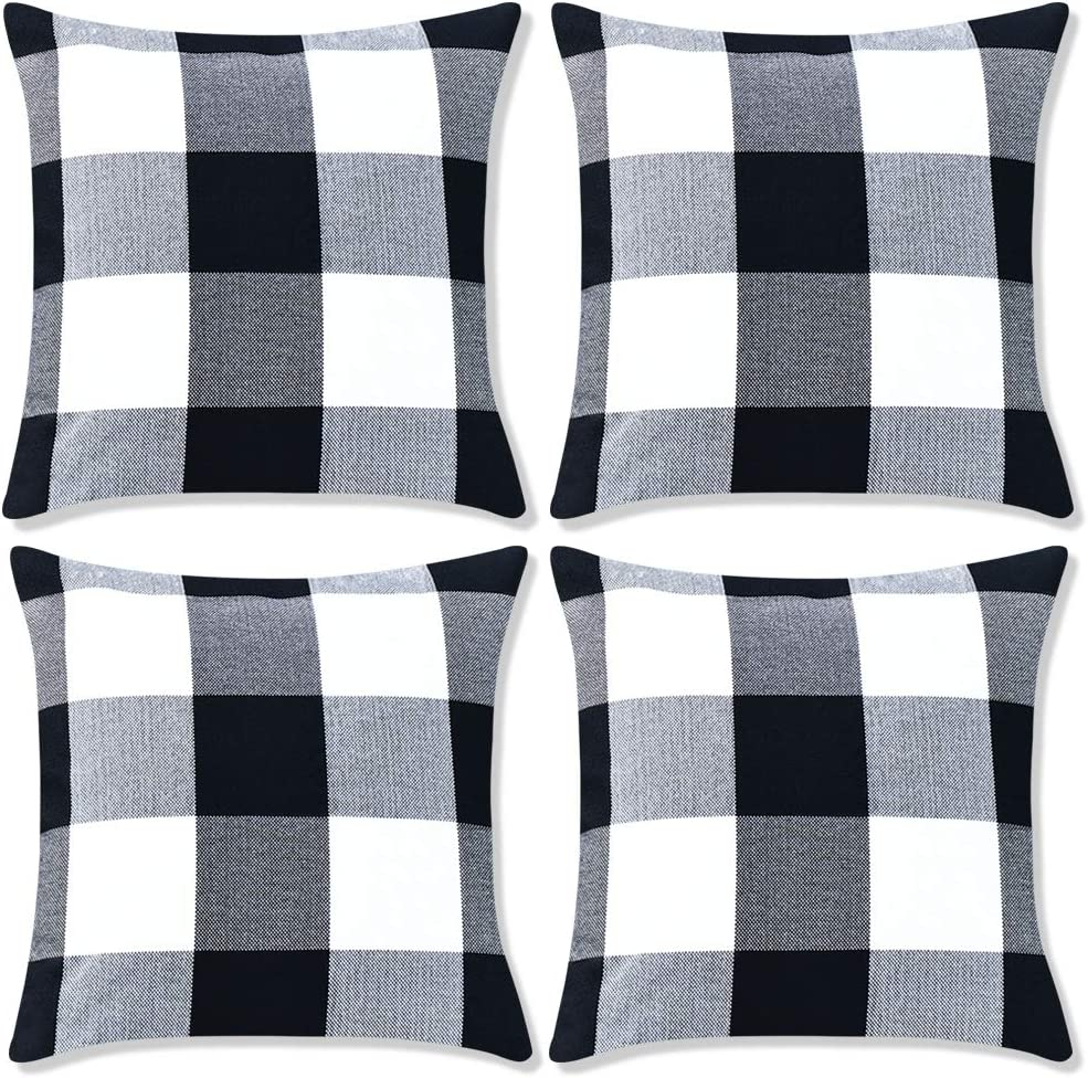 Decorbay Pack of 4 Farmhouse Decor Pillow Covers 18x18 Black and White Buffalo Checked Plaids Throw Pillow Covers Cushion Covers for Couch Sofa Outdoor Home