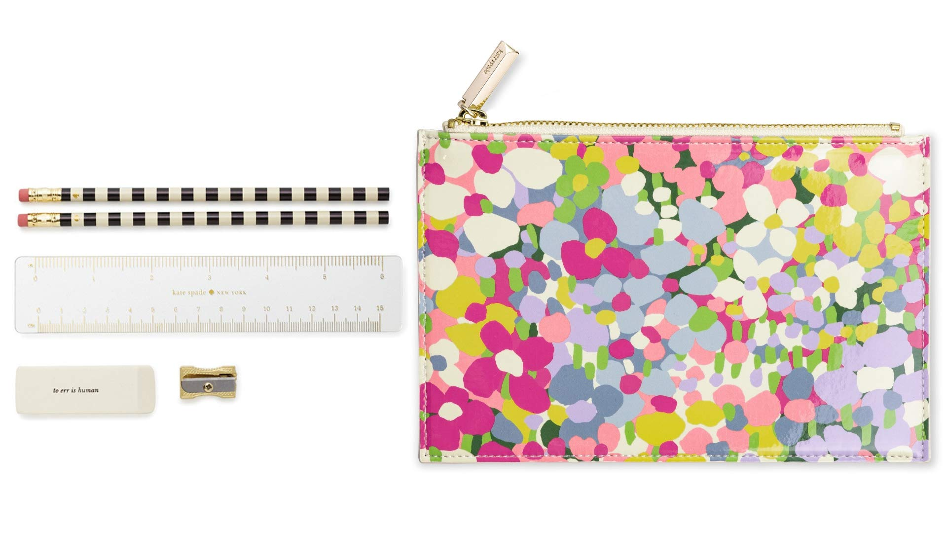 Kate Spade New York Pencil Pouch Including 2 Pencils, Sharpener, Eraser, and Ruler School Supplies (Floral Dot) by Kate Spade New York