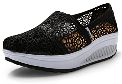 Black Floral Breathable Fashion Sneakers Running Shoes Slip-On Loafers Classic Shoes
