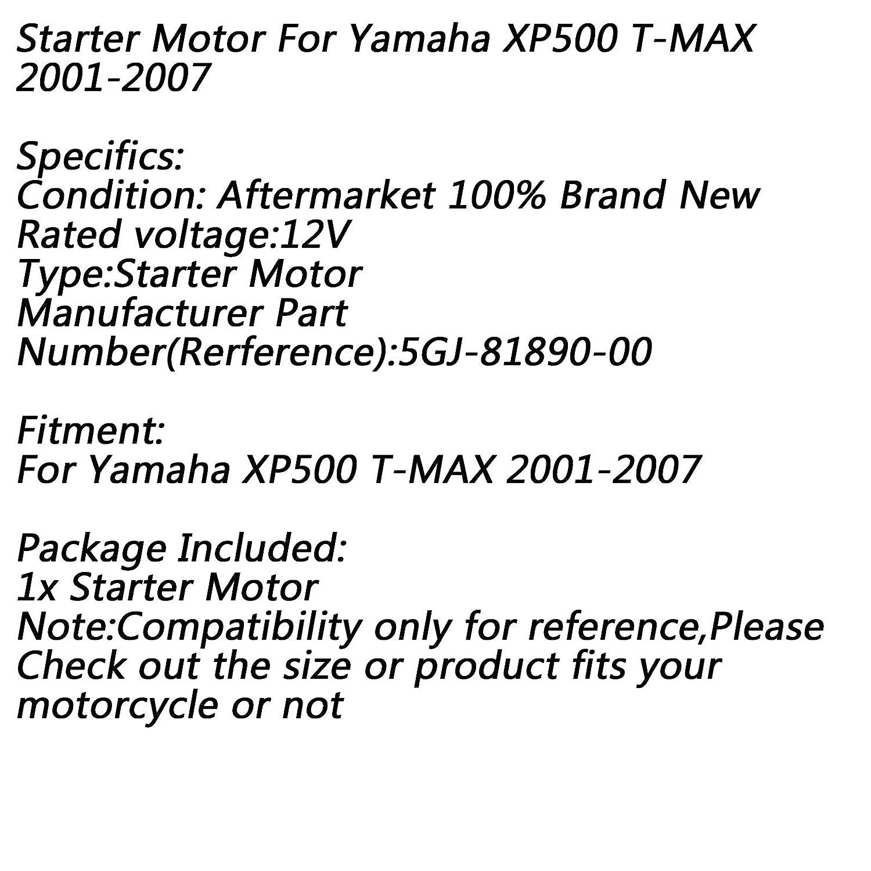 Artudatech Moto D/émarreur 12V Electrique Moteur de d/émarrage Starter Motor Starter pour Yamaha XP500 T-MAX 2001-2007 5GJ-81890-00