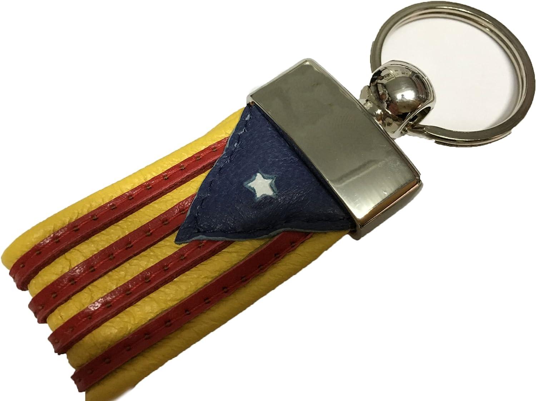 Yojan Piel - Llavero DE Piel DE LA Bandera INDEPENDENTISTA (ESTELADA) 100% Cuero - Producto Artesano | para Mantener Las Llaves Juntas | Llavero Colgante de Metal y Cuero