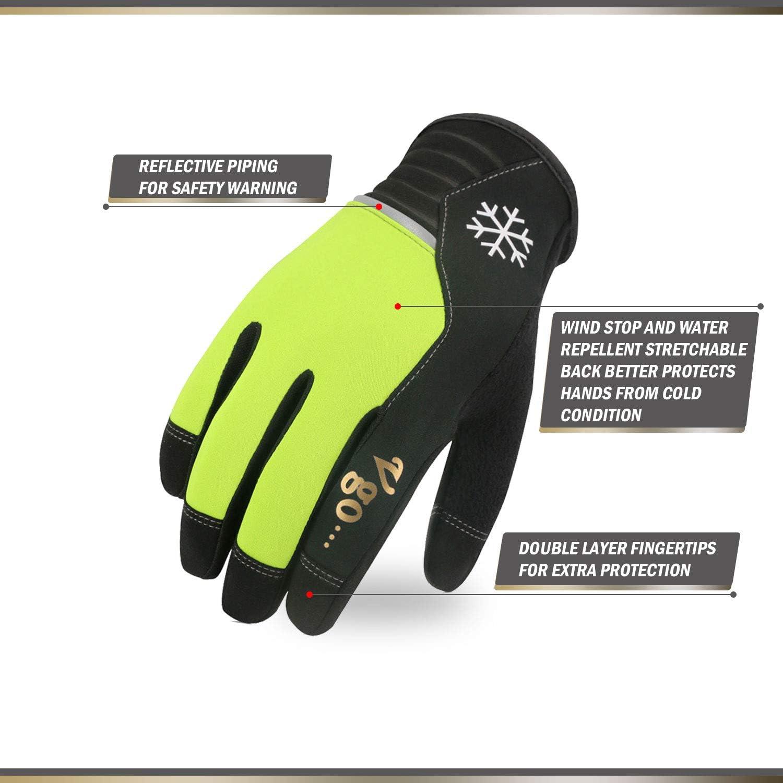 Taille 8//M, Noir /& Vert Fluorescent, AL8772 Gants Chauds dhiver de Haute dext/érit/é compatibles /écran Tactile Vgo 2 Paires,au Dessus de 5℃,Gants de Travail en Cuir Artificiel
