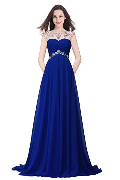 Babyonlinedress Vestido azul de gala estilo A-line para fiesta de noche cuello redondo sin