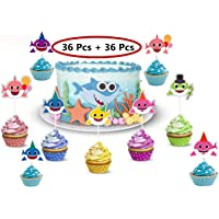 36Pcs Shark Cupcake Toppers with 36Pcs CupcakeLiners Shark Theme Party Supplies Cute Shark Family Baby Shower Birthday Party Decorations