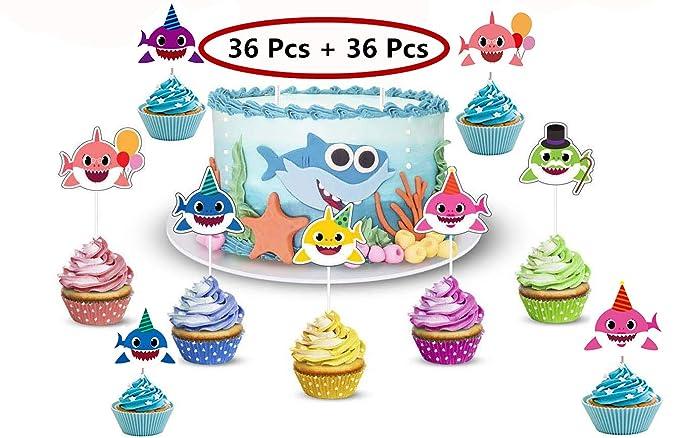 36 decoraciones para cupcakes con diseño de tiburón y 36 ...