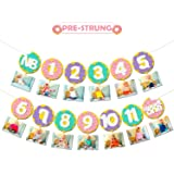 Levfla Donut Baby First Birthday Photo Banner Glitter Sweet One Doughnut Sprinkles Kids Monthly Milestone Photo Props Cake Smash Ideas Party Decoration Supplies