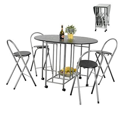 House In A Box Folding Dining Table Set Breakfast Kitchen Restaurant 1 Table 4 Chairs Black Wooden Metal