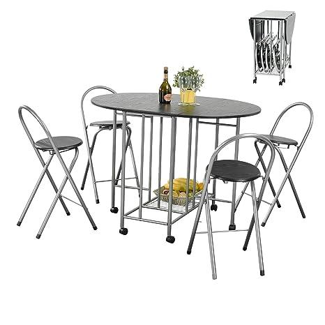 Juego de 5 Piezas Extensible 1 mesa y 4 Sillas Plegables para la Cocina y Comedor de Metal y Madera Negro
