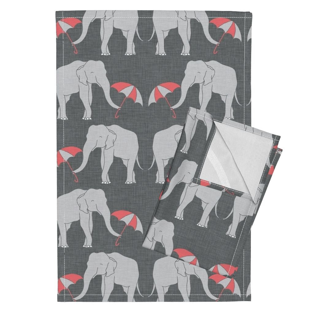 Roostery Elephant Umbrella Coral Grey Linen Animals Tea Towels Elephant_and_Umbrella_Coral by Holli Zollinger Set of 2 Linen Cotton Tea Towels