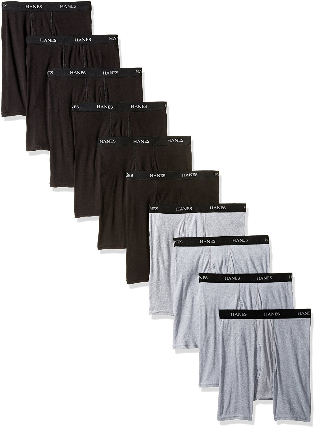 Hanes Red Label Men's 10-Pack B/G Boxer Brief (XXXXX-Large, Assorted)