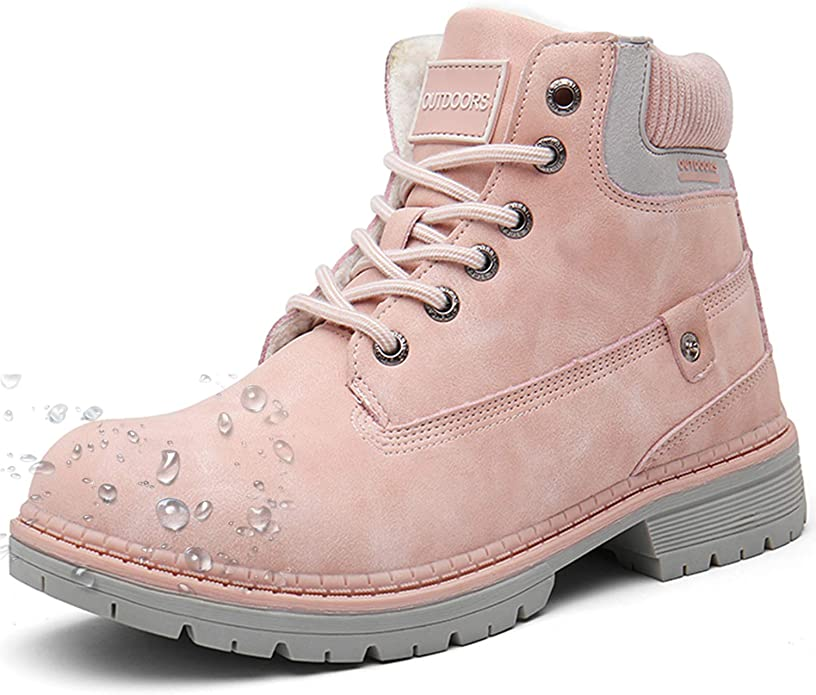 Snow Boots Womens Mens Winter Flat Ankle Boots Warm Fur Lined Fashion Combat Leather Shoes Casual Sneakers Work Walking Hiking Lace Up, Pink, 6 UK: Amazon.co.uk: Shoes & Bags