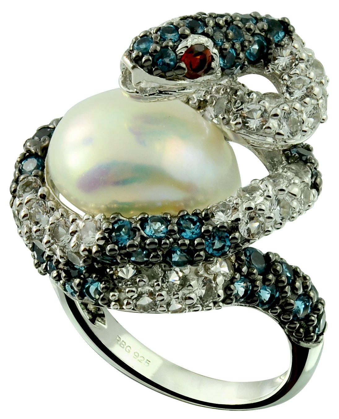 13.41 Cts Freshwater Cultured Pearl with London Blue Topaz Rhodium-Plated 925 Sterling Silver Snake Ring (9)