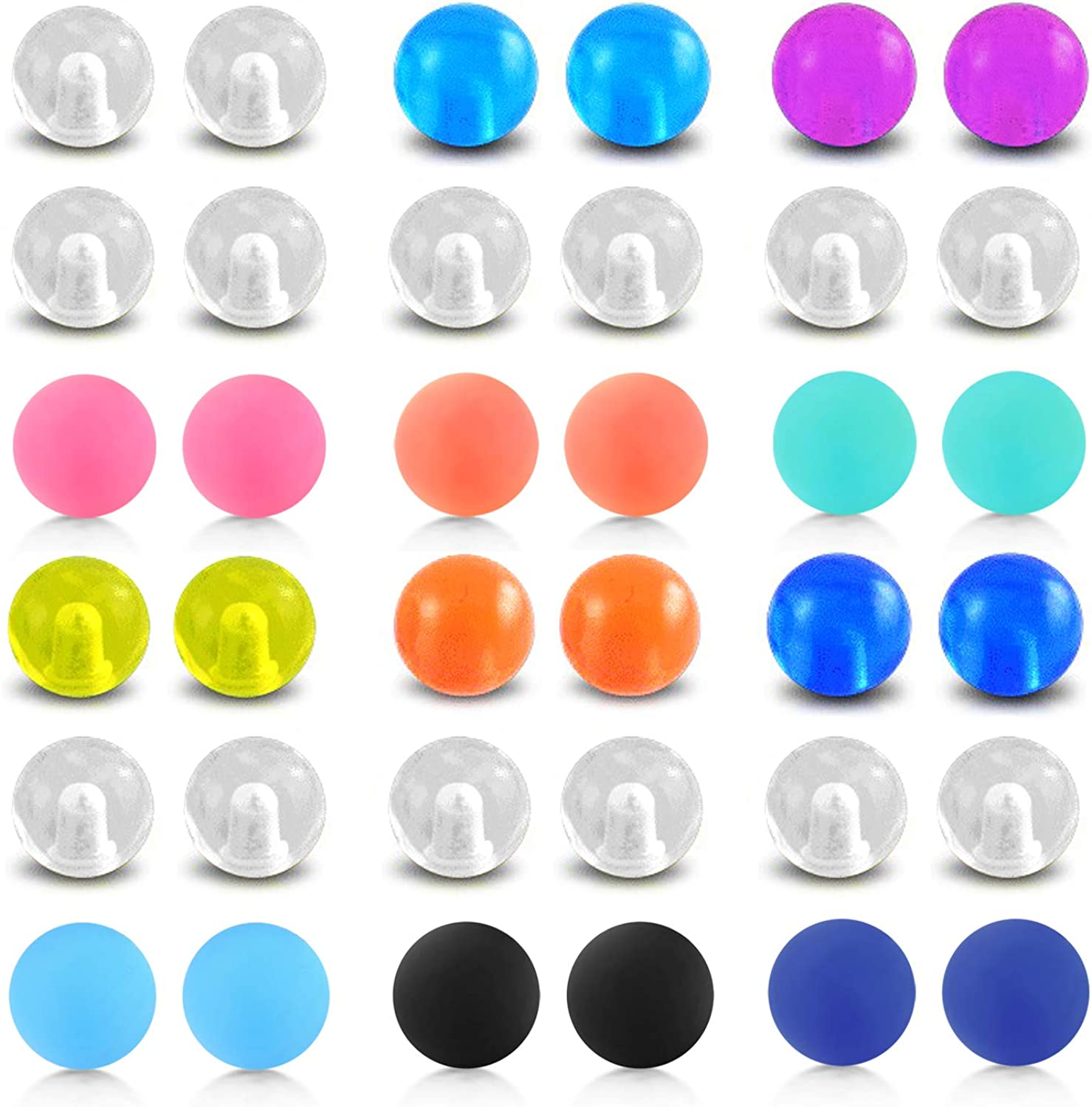 D.Bella Stainless Steel /& Clear Acrylic Replacement Balls Body Jewelry Piercing Barbell Parts 14G 5mm Balls for Women Men