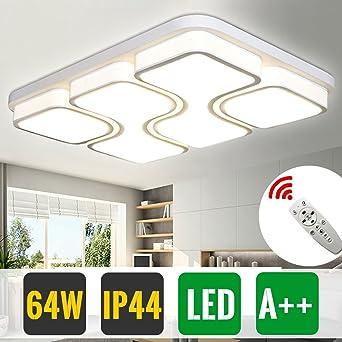 HG 64W Dimmbar Mit Fernbedienung LED Wohnzimmer Deckenleuchte IP44 Modern  Weiß Wohnzimmerlampe Rechteckig Büros Leuchte Esszimmerlampe