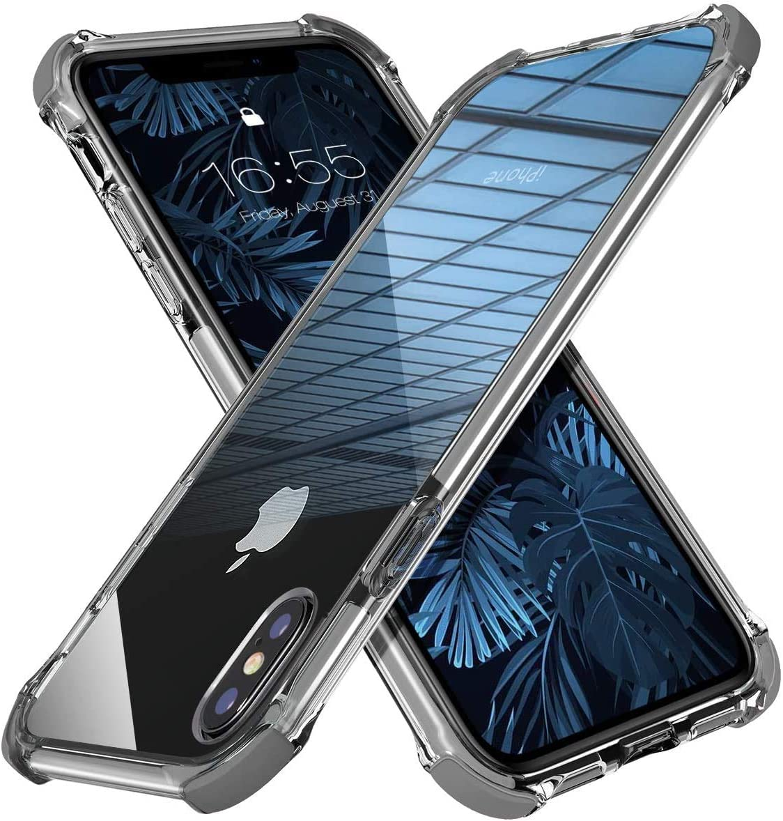 MATEPROX iPhone Xs Case iPhone X Case Clear Hybrid TPU Hard Cover with Thin Shockproof Bumper Protective Case for iPhone Xs/X 5.8'' (Gray)