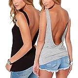 Bestisun Women's Sexy Open Back Stretchy Tank Top Cute Workout Casual Shirt