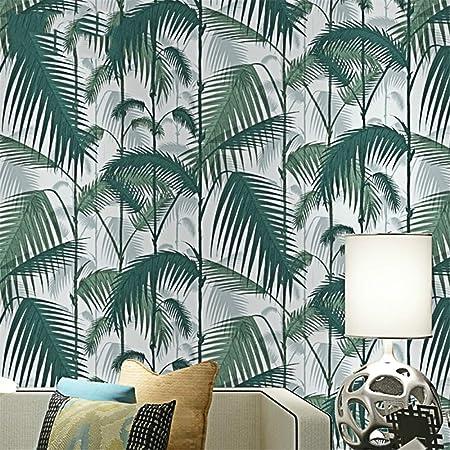 Th/ème noir Droit Tropical Jungles Palmier Feuillage vert luxuriant Woods Papier peint Rouleau For/êt Floral Plante naturelle Papier peint non tiss/é Childs Room(5.3 ㎡)