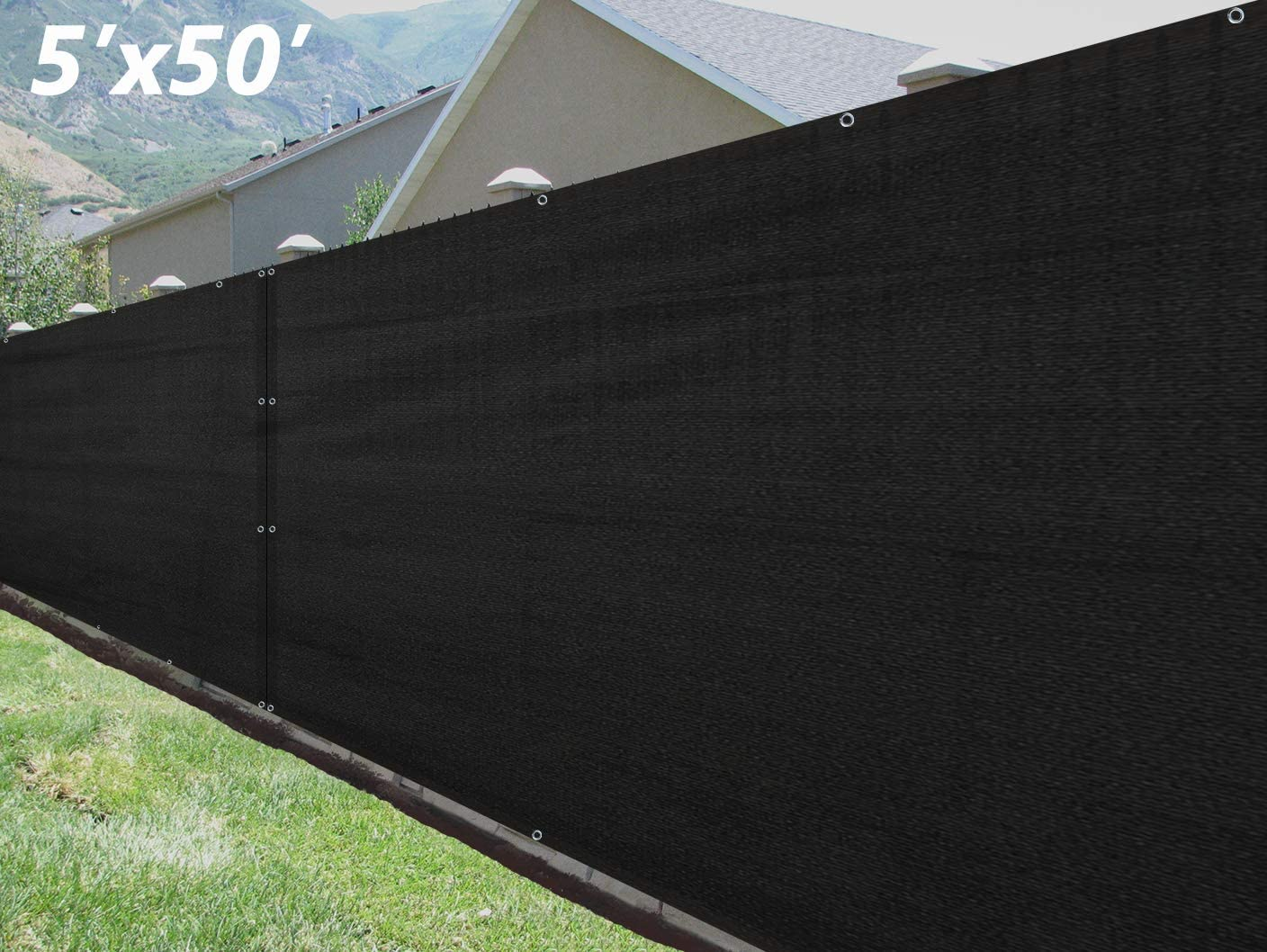 SUNNY GUARD Privacy Screen Fence 5 x 50 Heavy Duty Fence Mesh Windscreen Cover Fabric Shade Blockage UV-Black