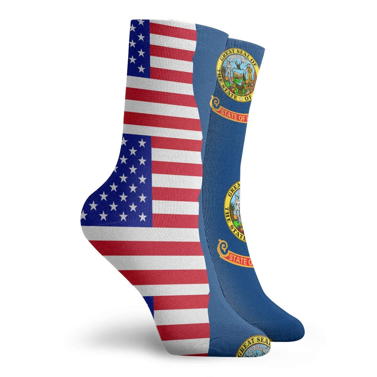 Women Men Half USA Half Idaho State Flag Cushion Ankle Socks