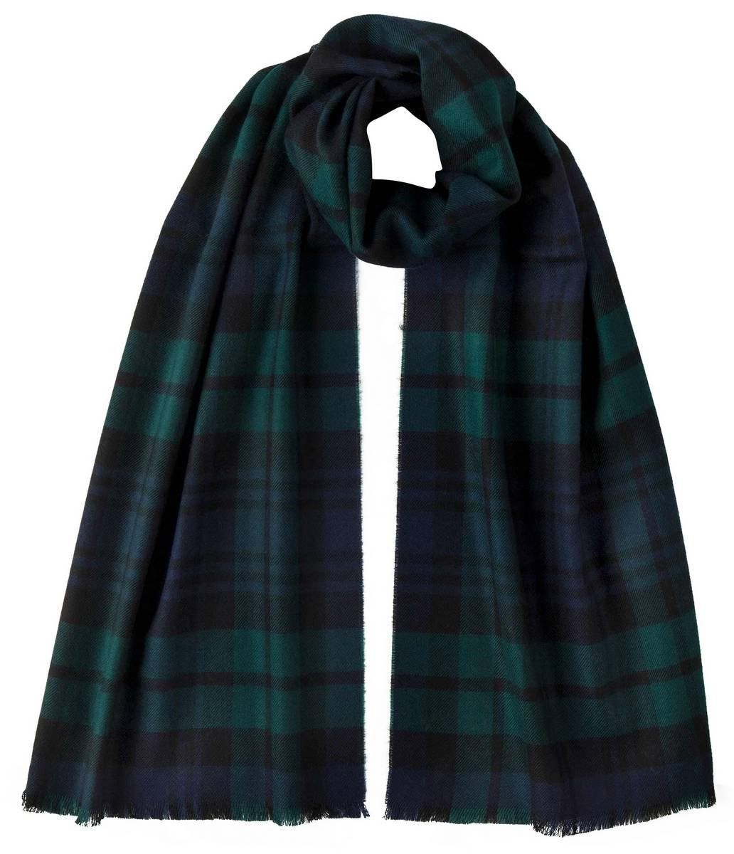 Johnstons of Elgin Unisex Black Watch Extra Fine Tartan Scarf - Navy/Black/Green