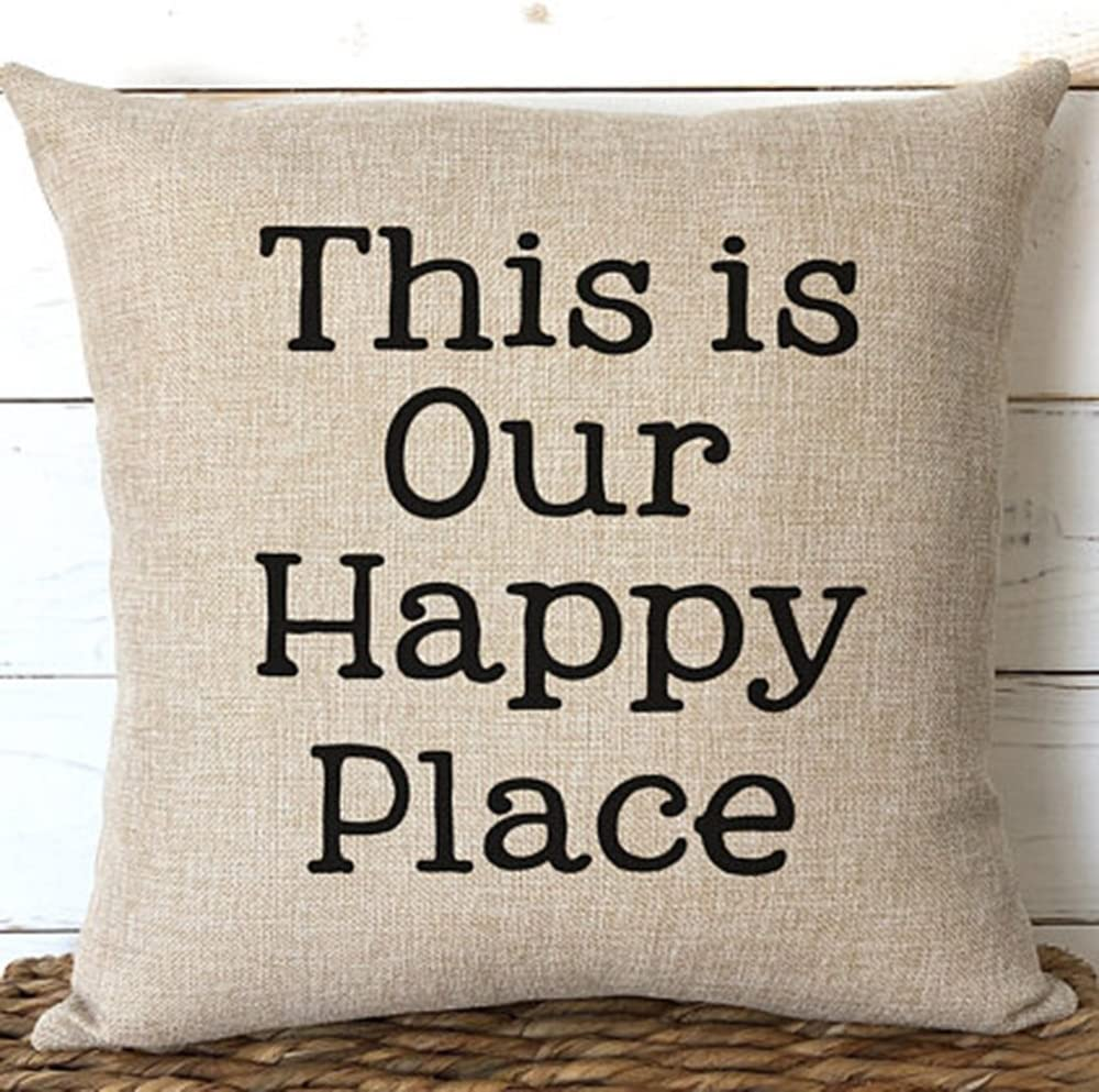 Amazon Com This Is Our Happy Place Pillows Cushion Covers 18x18 Cabin Lake Home Decor Retirement Gift Sofa Beach House Decor Two Side Color 2 Home Kitchen