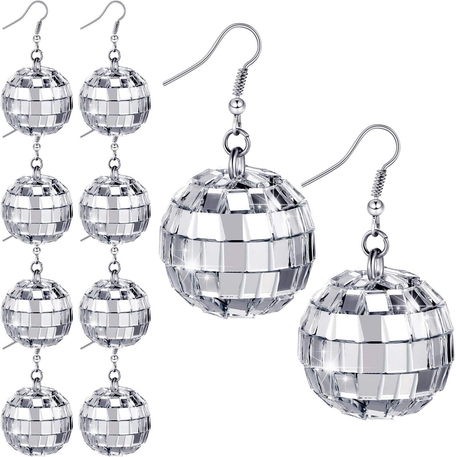 Red earrings dangle Dance party Cute earrings Disco Circle dangle earrings Party dangles Sparkling earrings Cool earrings Disco ball