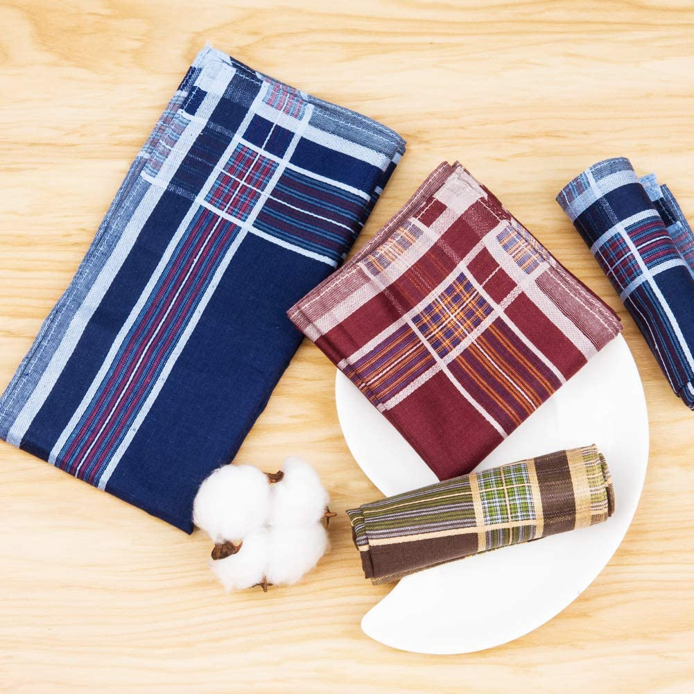 6//12 Pieces 40x40cm Houlife Mens Handkerchiefs 100/% Cotton 60S Classic Stripe Checkered Pattern Coloured Plaid Hankies for Dad Grandad Fathers Day Gift