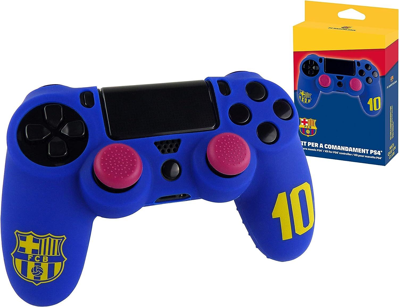 Subsonic - Funda de silicona para mando y Carcasa blanda antideslizante con Thumb grips caps de precisión para joysticks [licencia oficial FCB FC Barcelona] (PS4)