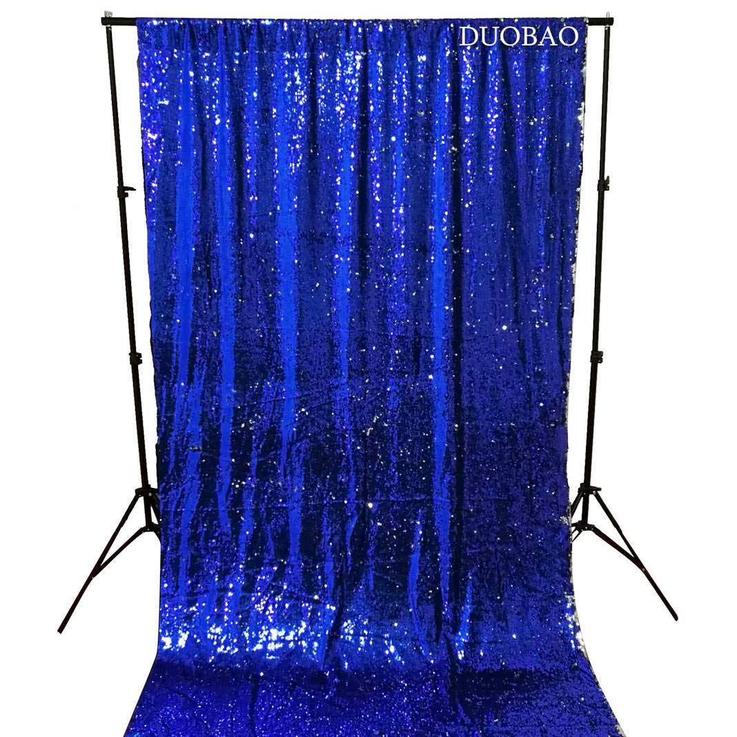 DUOBAO Sequin Backdrop 20FTx10FT Royal Blue to Silver Wedding Pics Backdrop Mermaid Reversible Sequin Photo Backdrop Baby Shower Curtains by DUOBAO (Image #4)