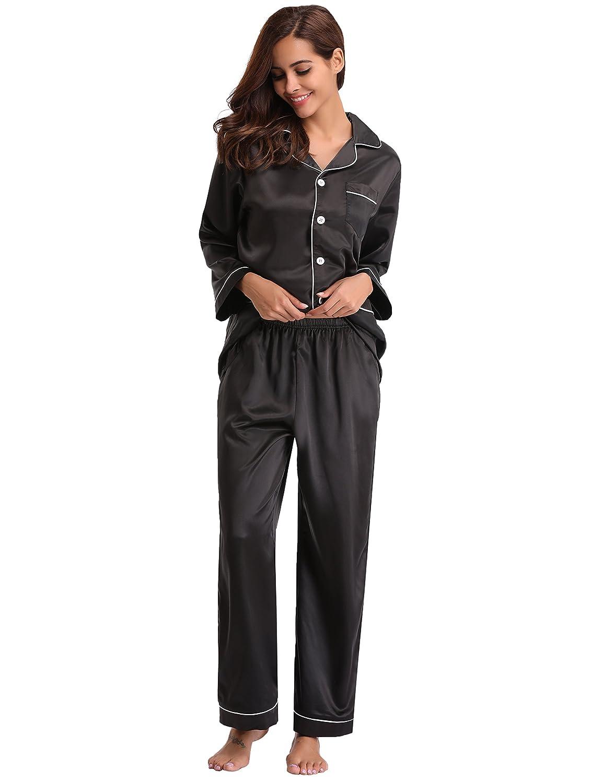 d25085a9 Abollria Women's Pajamas, Satin Nightwear Set, Long Sleeve Button Up Shirt  & Pants with Pockets Ladies Sleepwear Silky Loungewear S~2XL