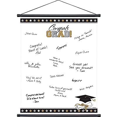 "Amscan 279050 Graduation Party Sign-In Scroll Sheet, 23"" x 18"", silver/white: Kitchen & Dining"