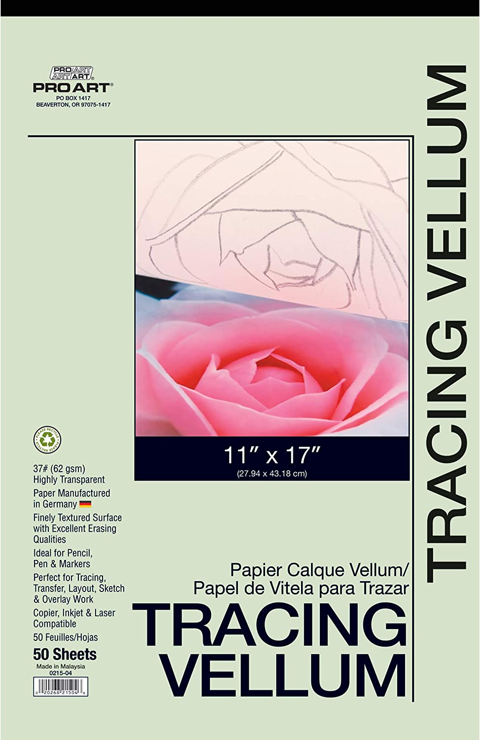 Pro Art 11-Inch by 17-Inch Tracing Vellum Paper Pad