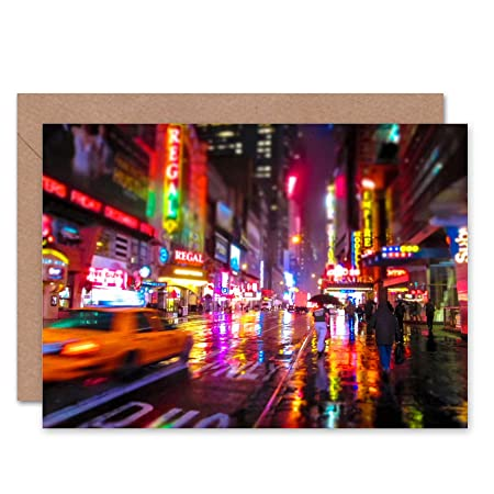 Wee Blue Coo NEW YORK NEON CITY LIGHTS PHOTO BLANK GREETINGS BIRTHDAY CARD ART Amazoncouk Kitchen Home