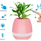 Bluetooth Speaker Music Flower Pots Rechargable LED Night Light with 7 Soft colors by MOVTEKE Playing Piano on a Real Plant Built-in 15 Piano Piece of Melodious Ringtones(Pink)