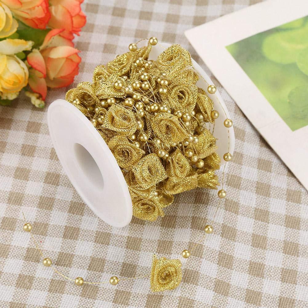 Hilitand 10 m/Rollo De 3 Mm De Rose Artificial Ribbon Perlas De Alambre De La Perla Garland String DIY Decoración De La Boda, De Imitación De Cristal con ...