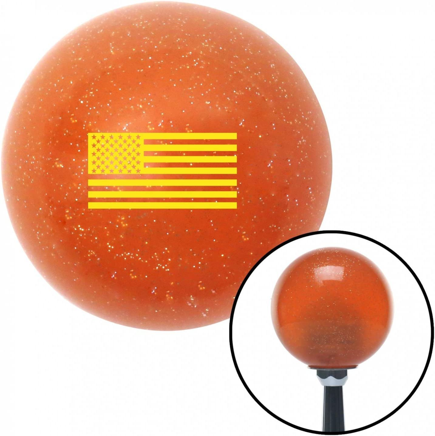 American Shifter 44699 Orange Metal Flake Shift Knob with 16mm x 1.5 Insert Yellow American Flag
