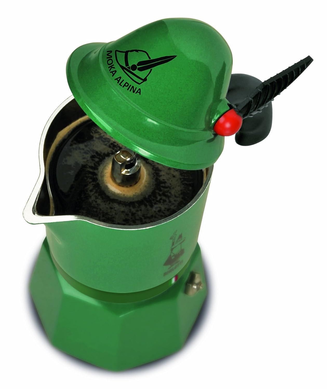 Bialetti 2762/MR Moka Express Alpina - Espressokocher aus Aluminium für 3 Tassen 0002762/MR 2762_grün