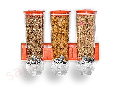 Dispensador triple de cereales y alimentos secos con bandeja de derrame incluida para hogar, cocina