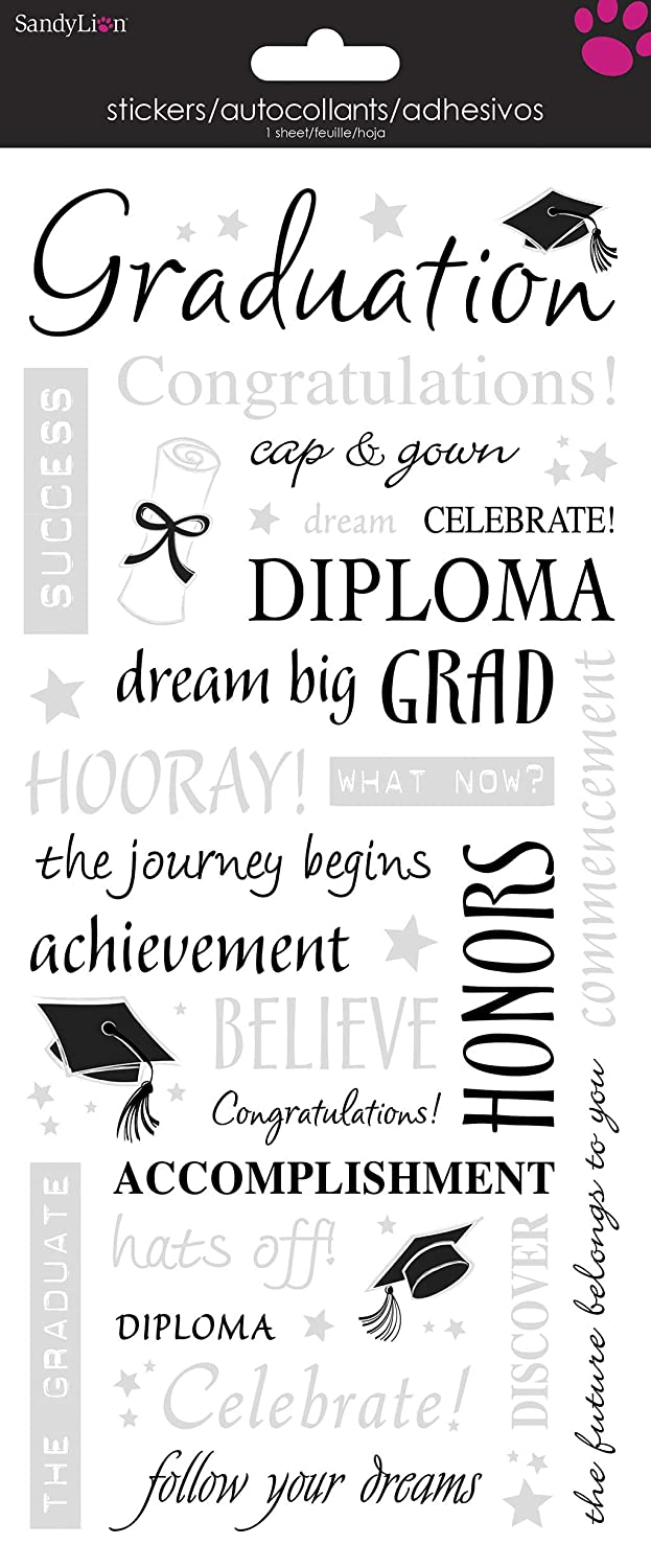 5.5 by 12-Inch Words with Silver Sticker Sandylion Grad Clear PSCB323