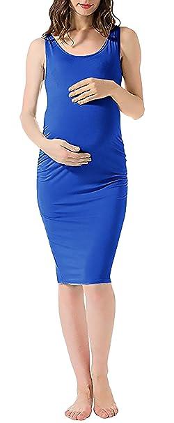 Vestido Premama Elegantes Casual Fashion La Rodilla Embarazadas Vestidos De Verano Sin Mangas Cuello Redondo Unicolor