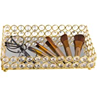 Feyarl Crystal Beads Cosmetic Tray Rectangle Jewelry Organizer Tray Mirrored Decorative Tray