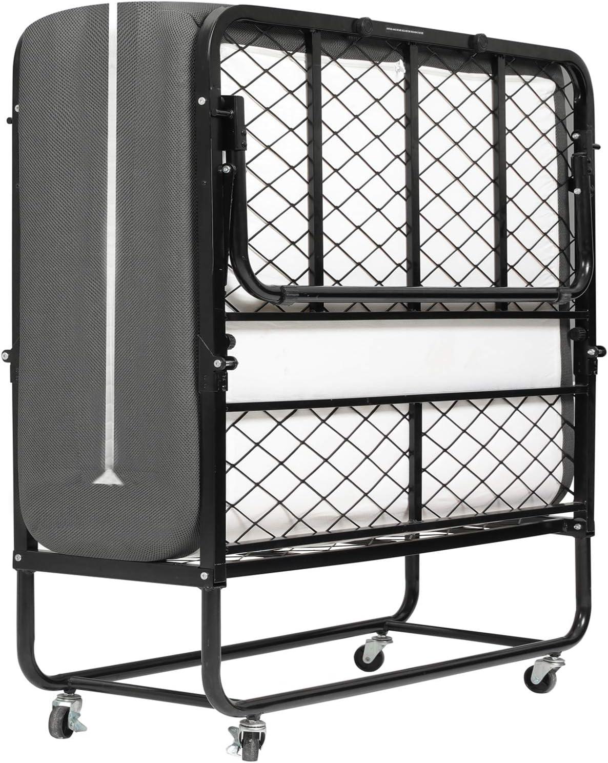 DICTAC Cama plegable 90 x 200 cm Cama de invitados con colchón de espuma viscoelástica de 13 cm de Espesor,Cubierta de polvo y ruedas gratis, fáciles de montar y transportar,Armadura de Metal