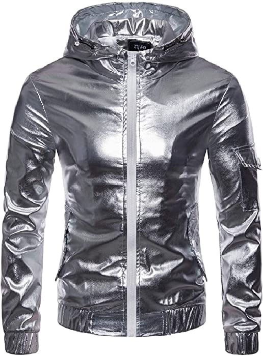 02c63eddd Coolred-Men Glitter Hood Windproof Full-Zip Windbreaker Outwear Jackets  Silver S