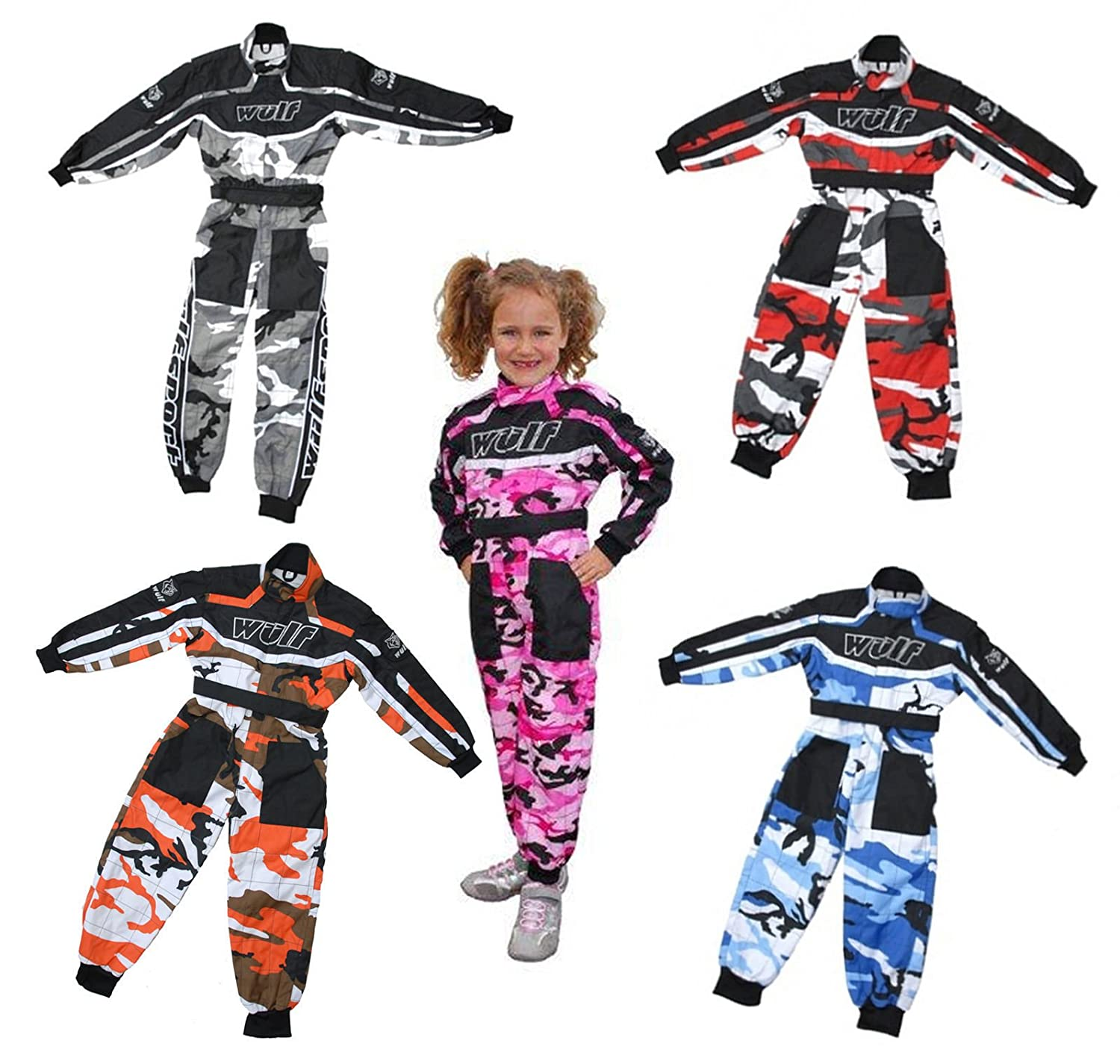Wulf WULFSPORT Kids Camo Race Suit Overalls Motocross Lt PW Go